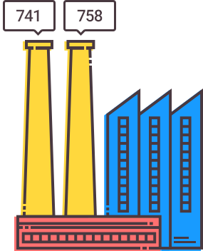illustration of an industrial complex generating two credit scores