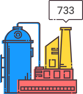 illustration of an industrial complex generating a credit score