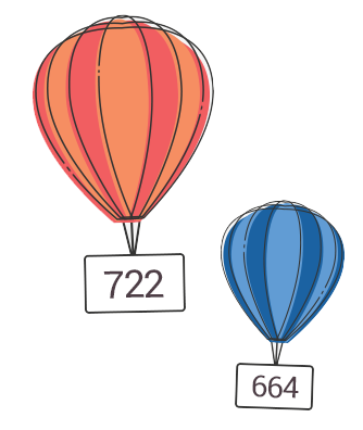 hot air balloons with numbers