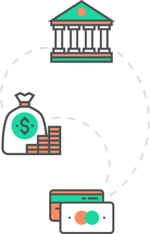 illustration of a financial institution, currency and credit cards