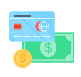 illustration of documents, currency and credit cards